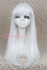 65cm long white Anime straight Smooth Cosplay party wig CW143F