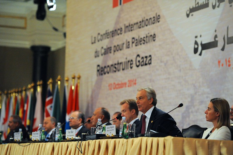 Former British Prime Minister Blair Addresses Gaza Donors Conference in Cairo