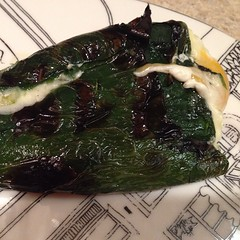 Grilled cheese stuffed poblano to go with burgers! Good football food (despite another Washington loss)