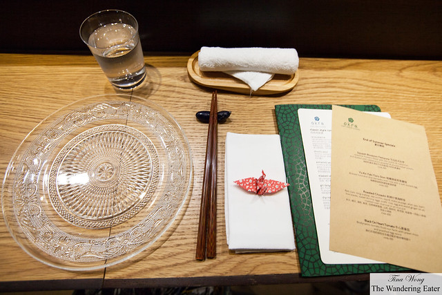 Table setting at the sushi bar