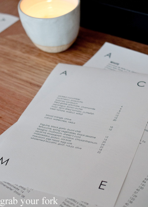 Menu at ACME, Rushcutters Bay