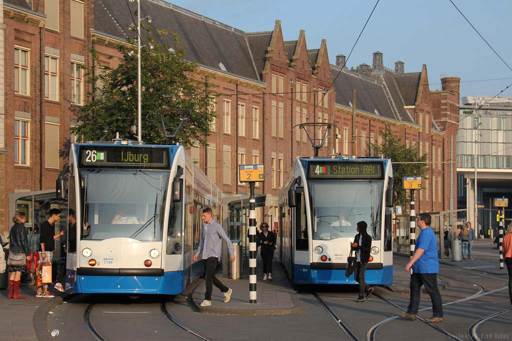 Trams at Amsterdam Centraal Station