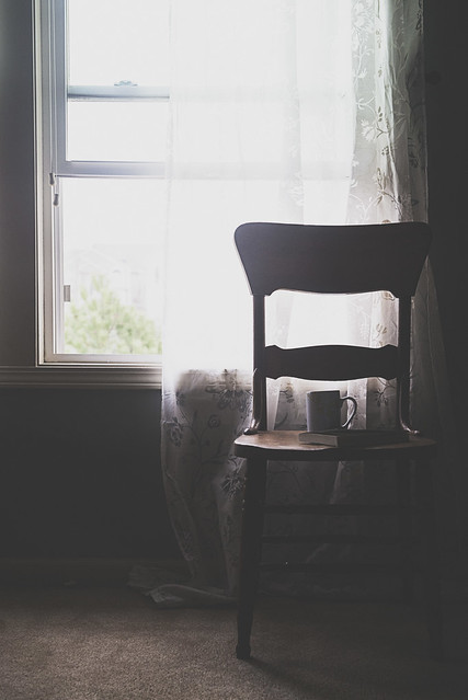 Coffee and book on a chair