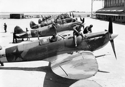 Lend lease Spitfire's at Adaban Iran before being sent to  Soviet Airforce in 1943