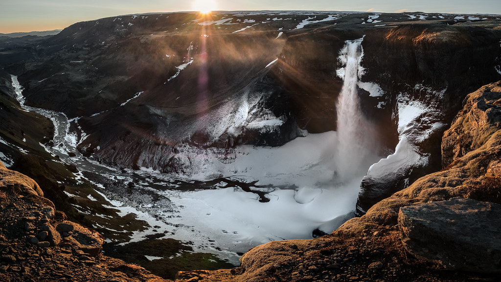 Sunset at Haifoss waterfall, Iceland picture