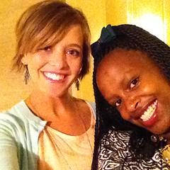 Blogger Elisabeth Epstein poses with Jhpiego youth leader Wangari Wanjiku.