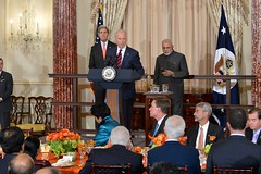 U.S. Vice President Joe Biden delivers remarks at a luncheon he co-hosted with U.S. Secretary of State John Kerry in honor of the visit of Indian Prime Minister Narendra Modi at the U.S. Department of State in Washington, D.C., on September 30, 2014. [State Department photo/ Public Domain]