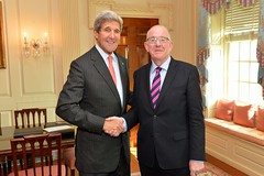 U.S. Secretary of State John Kerry and Irish Foreign Minister Charles Flanagan pose for a photo before their bilateral meeting at the U.S. Department of State in Washington, D.C., on September 30, 2014. [State Department photo/ Public Domain]