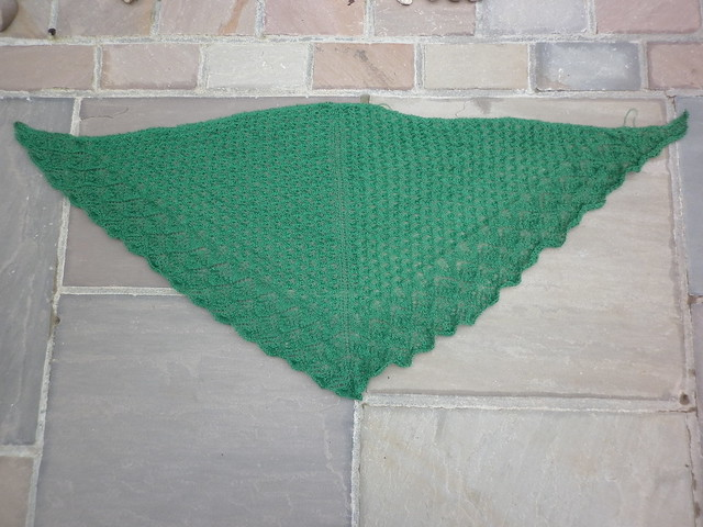 Off the needle but before blocking
