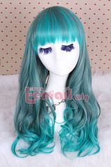 55cm long mix green wave fade bleach ombre cosplay wig