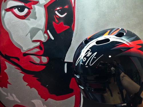 signed helmets for Blazers Bike Night!-1