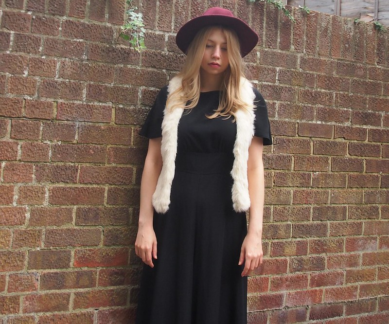 Peacocks, Black Jumpsuit, '70s Style, AW14, How to Wear, Outfit Ideas, Styling Inspiration, New Look, Faux Fur Gilet, Cream, Primark Fedora, Burgundy, Red, Oxblood, Cranberry, Sam Muses, UK Fashion Blog, London Style Blogger