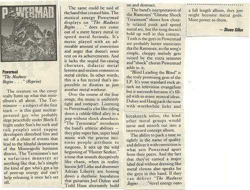 "Powermad ""The Madness Begins"" EP Review (City Pages 12/28/88)"
