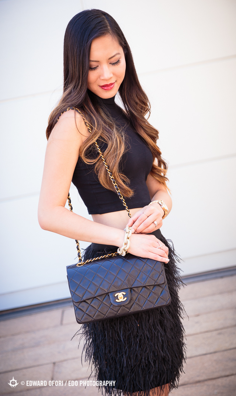 nyfw New York Fashion Week street style September 2014 Spring/Summer SS 2015: Black feather skirt & crop top