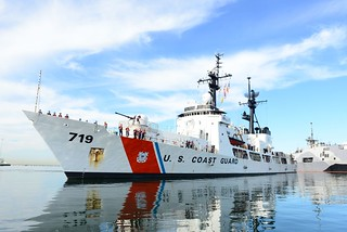 U.S. Coast Guard Cutter Boutwell returns to homeport in San Diego after a 90-day counter drug patrol in the Eastern Pacific Ocean, Oct. 6, 2014. During the patrol, the Boutwell participated in six separate cocaine interdictions. (U.S. Coast Guard photo by Petty Officer 2nd Class Connie Terrell)