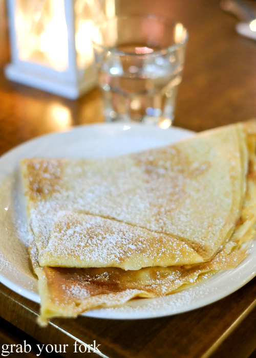 Crepe with French chestnut puree at Creperie Le Triskel, Melbourne