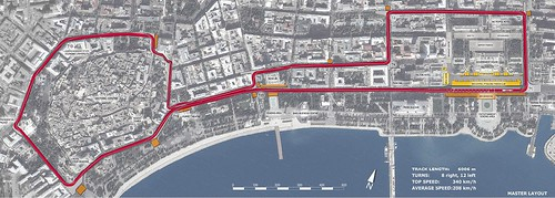 The Map of the #Baku European Grand Prix street circuit