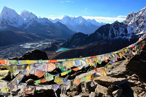 Prayer flag lookout beyond Gokyo