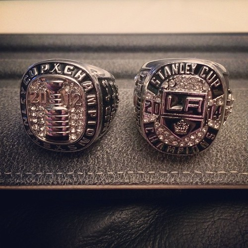 My #LAKings ring collection. Not too shabby.