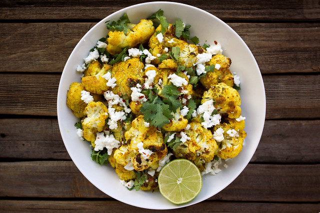 Curry Roasted Cauliflower with Feta and Cilantro