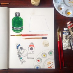 I\'m starting a daily art series until I leave for Spain for my art residency. Day 1: what supplies I\'m bringing or shipping. Keeping it simple with water media. Read more on the blog, link in profile. #31DaysToSpain #dailyart #paintingaday #sketchbook