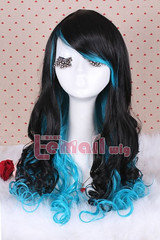 55cm long black&blue wave cosplay hair wig