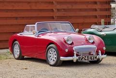 triumph tr3(0.0), sports car(0.0), automobile(1.0), vehicle(1.0), antique car(1.0), austin-healey sprite(1.0), classic car(1.0), vintage car(1.0), land vehicle(1.0), convertible(1.0),