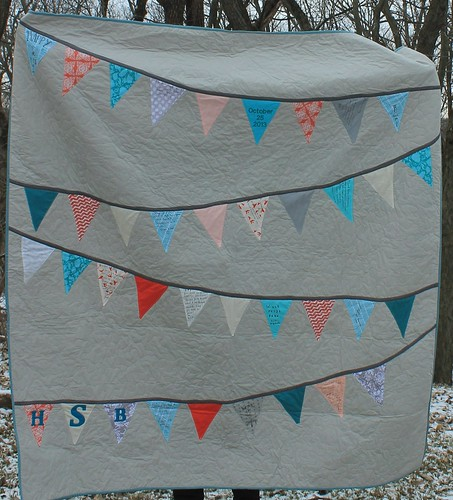 Coral Teal and Gray Bunting Quilt