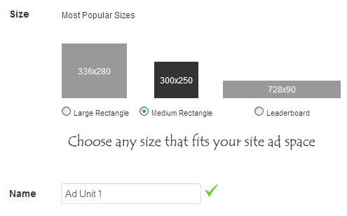 Choose ad size
