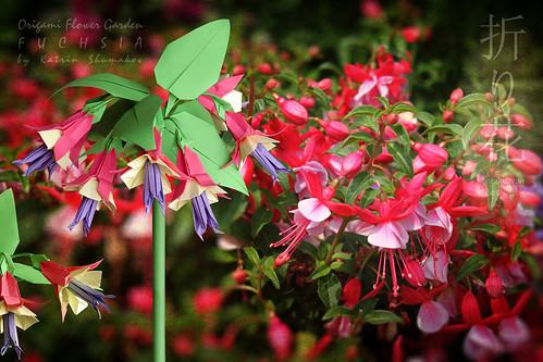 Origami Flower Garden. Fuchsia