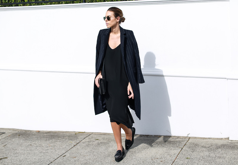 modern legacy fashion blog Australia pinstripe Zara coat street style Topshop cami silk slip dress Senso navy loafers Alexander Wang Envelope Prisma bag (10 of 10)