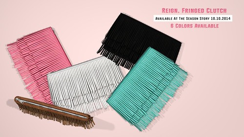 REIGN. Fringed Clutches