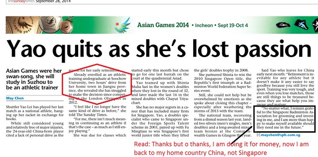Yao Quits as she lost passion 28Sep2014