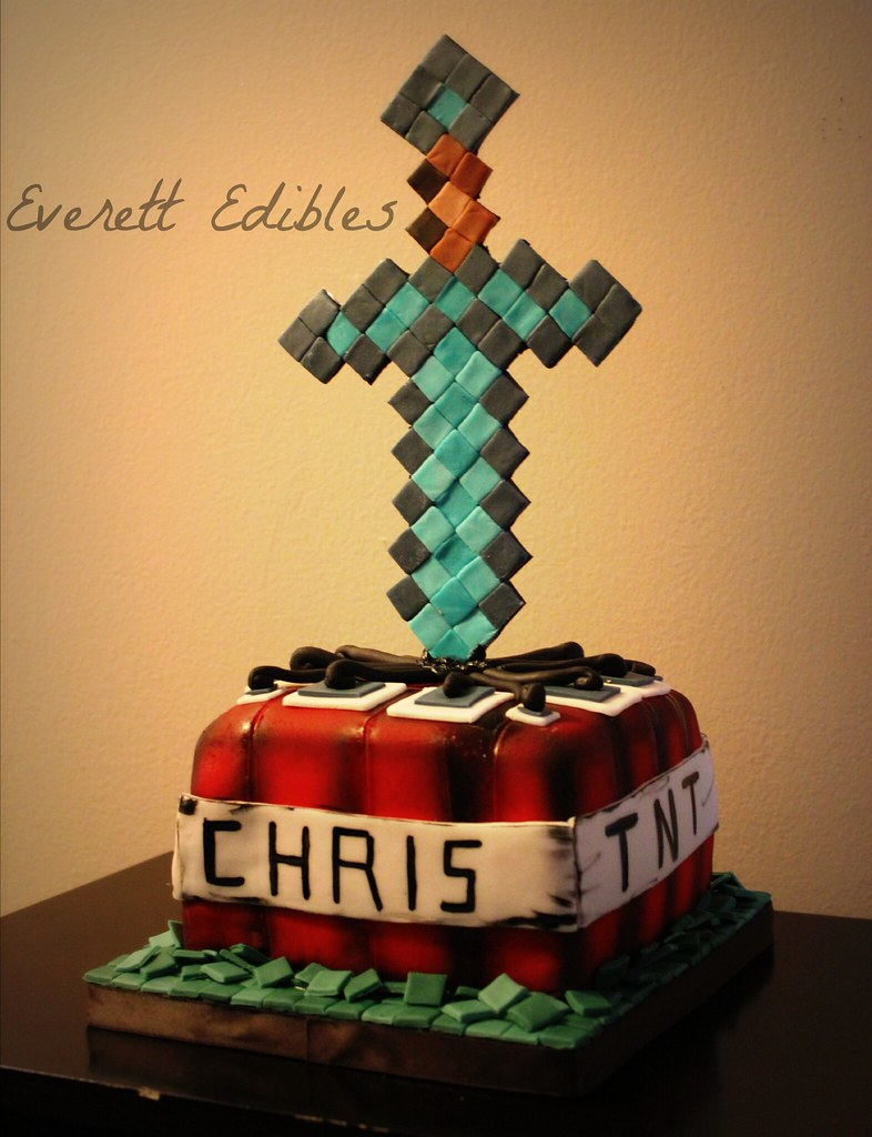 Minecraft Tnt Diamond Sword Cake 10 2014 Created By Everet Flickr