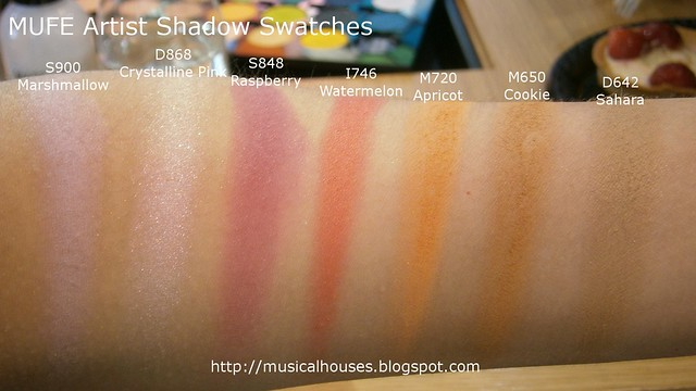 MUFE Artist Shadow Eyeshadow Swatches 2 Row 5
