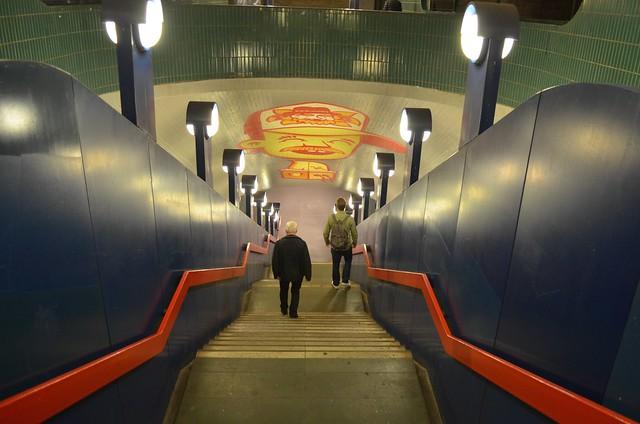 Berlin Schlossstrasse ubahn station stairs underground graffiti