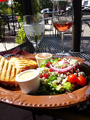 Spanish Grilled Cheese, house salad with blue cheese, Pinot Patch Rosè. Perfection.