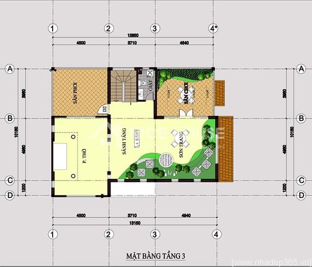 Thiết kế biệt thự 3 tầng 10x14m-tầng 3