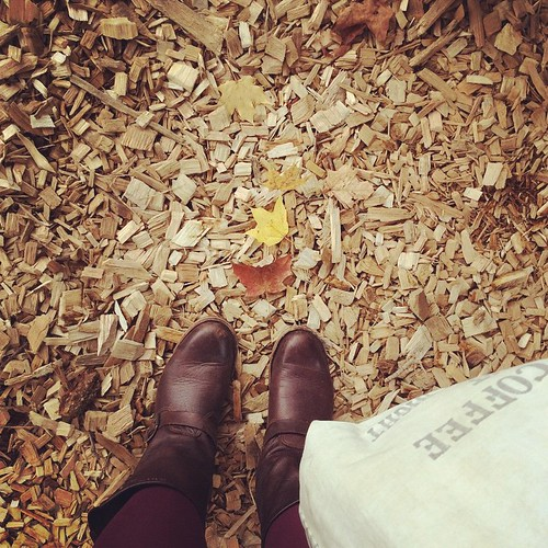 Boots, bag, leaves #rhinebeck #rhinebeck2014 #nysheepandwool