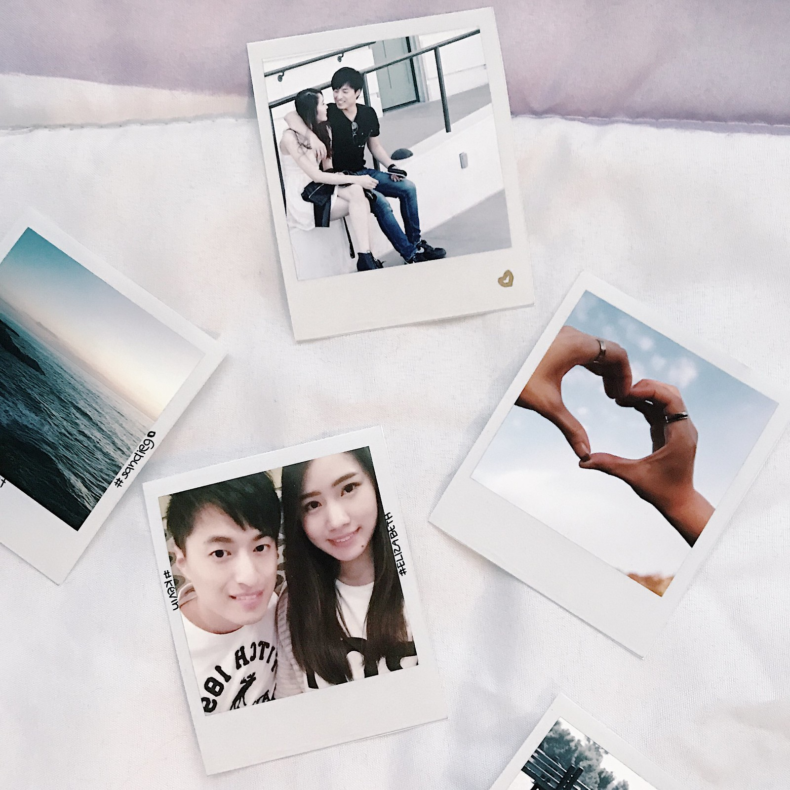 onthebed-flatlay-photography-instax-polaroid-love-couple