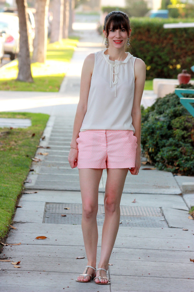 Polka dot shorts, scalloped shorts