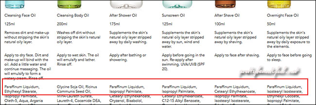 Lipidol oils ingredients