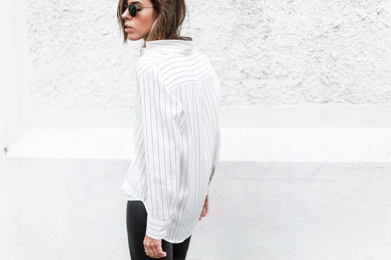 MODERN LEGACY fashion blog pinstripe shirt leather leggings Helmut Lang oxfords Alexander Wang bag black and white street style (2 of 6)