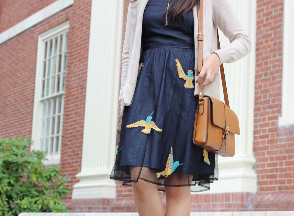 Eshakti bird print dress in navy