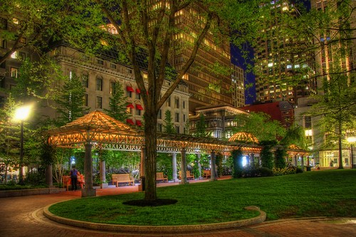 Norman B. Leventhal Park, Boston, at night, fine art photograph by Joann Vitali