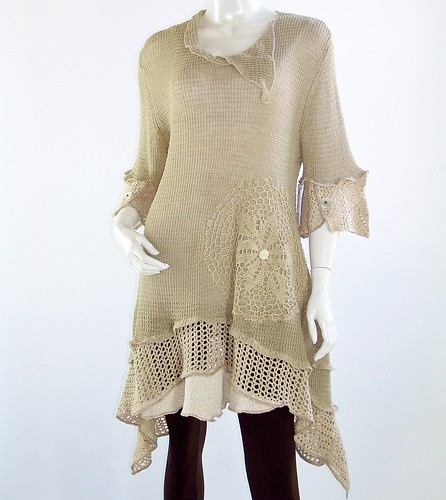 Handmade Upcycled Beige Knit and Crochet Tunic,Lagenlook,Womens Size Large, 12,14 U.S., Linen and Cotton