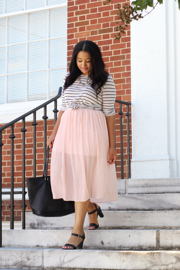 Stripes & Pink Pleated Skirt