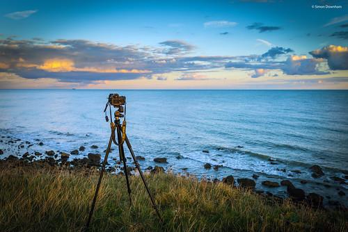 camera sea sky cliff cloud sun rock bay coast nikon rocks dusk top tripod cliffs isleofwight setup 700 vignette stcatherines iow d600 niton dsc05144ax