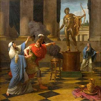 Imagen de lienzo antiguo haciendo consulta a los dioses