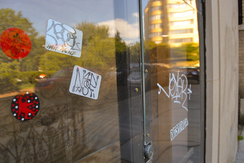 Stickers on the door of the Baptist Church